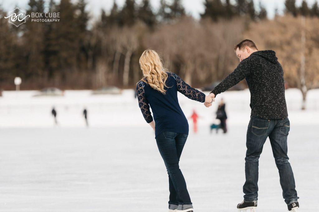 edmonton engagement photography william hawrelak park ice skating photo