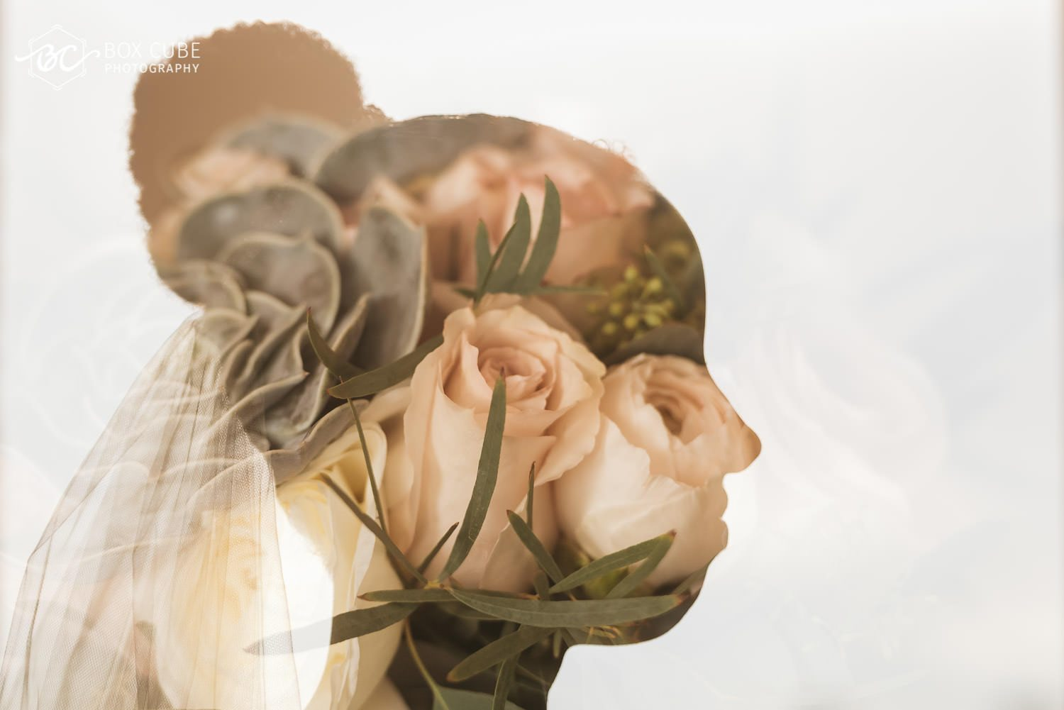 Double exposure of bride and flowers