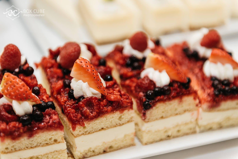 detail shot of strawberry raspberry dessert at hotel fairmont macdonald