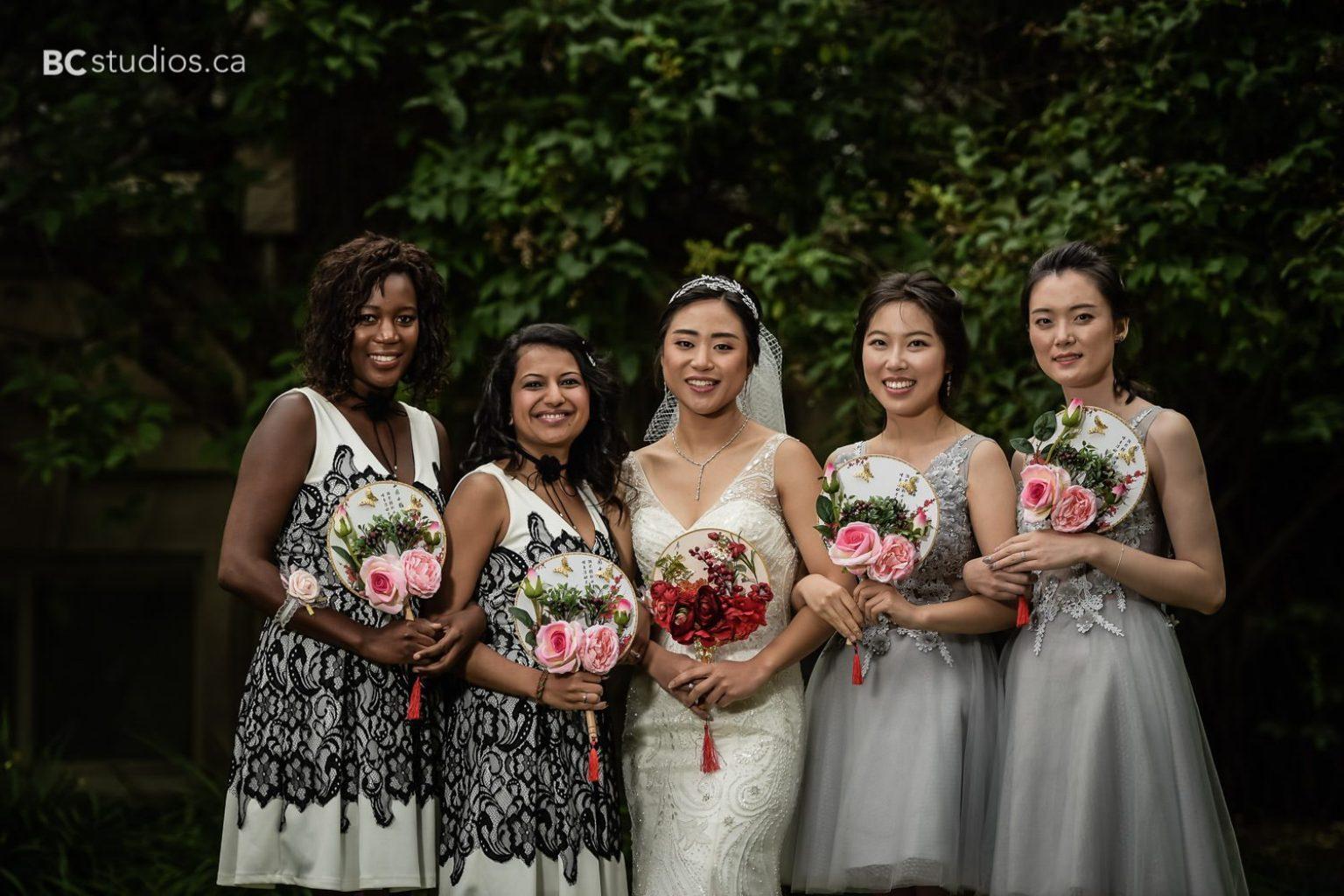 bride and bridemaids at university of alberta