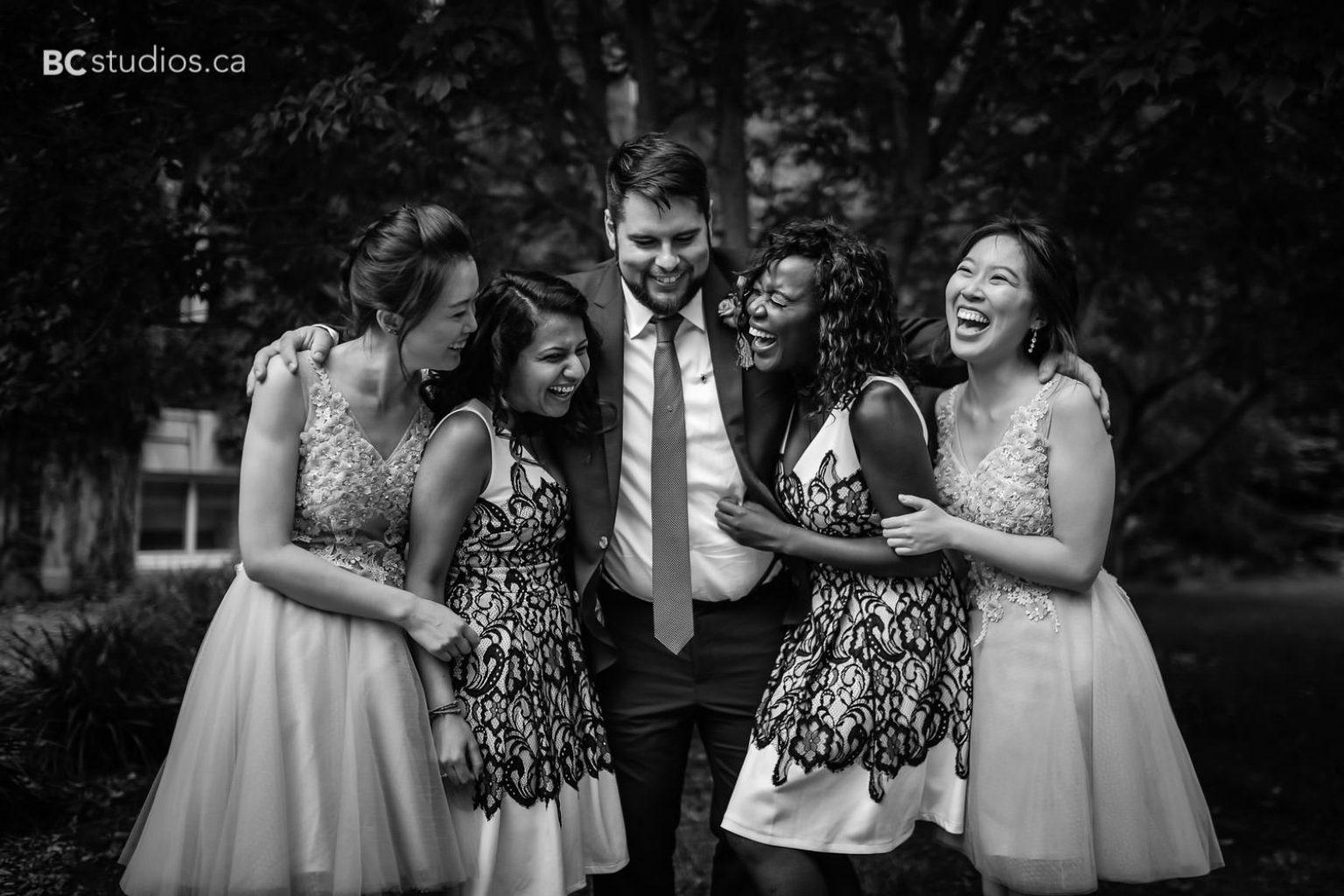 creative formals at university of alberta. groom and bridesamids and groomsmaids.