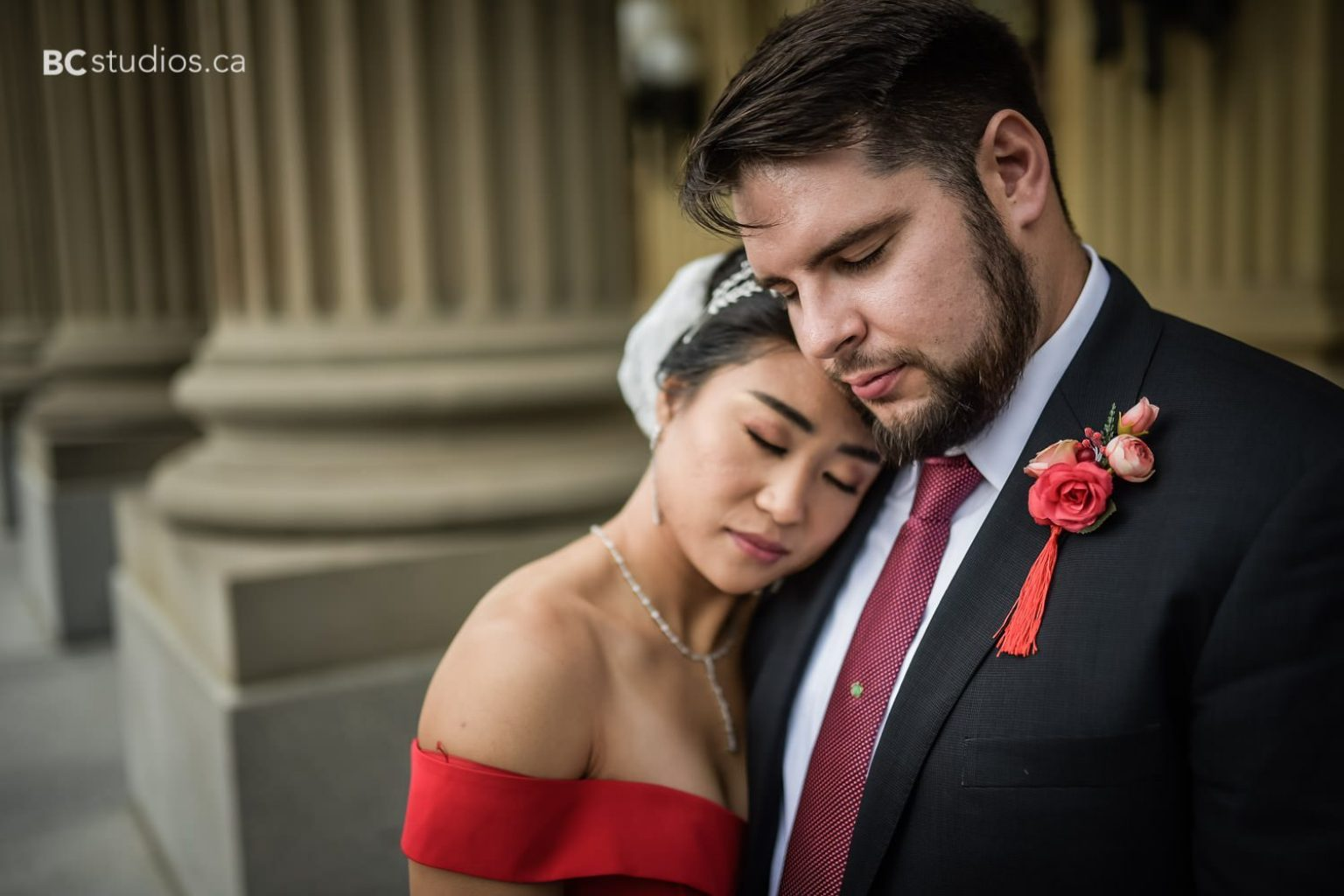 red wedding dress. chinese. alberta legislature building