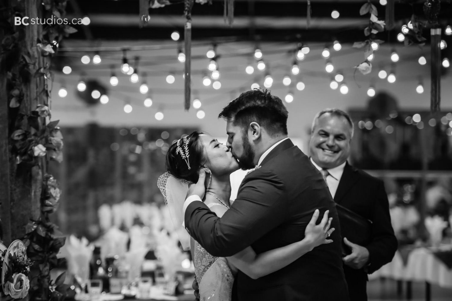 bride and groom. ceremony. kiss.