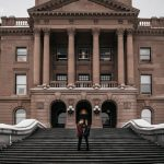 The Kuzyk's Engagement Session at Alberta Legislature Building, Edmonton