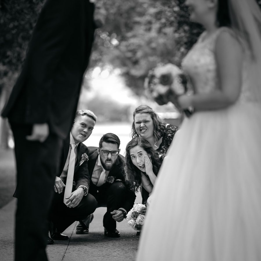 funny bridesmaids and groomsmen photo - funny wedding party photo