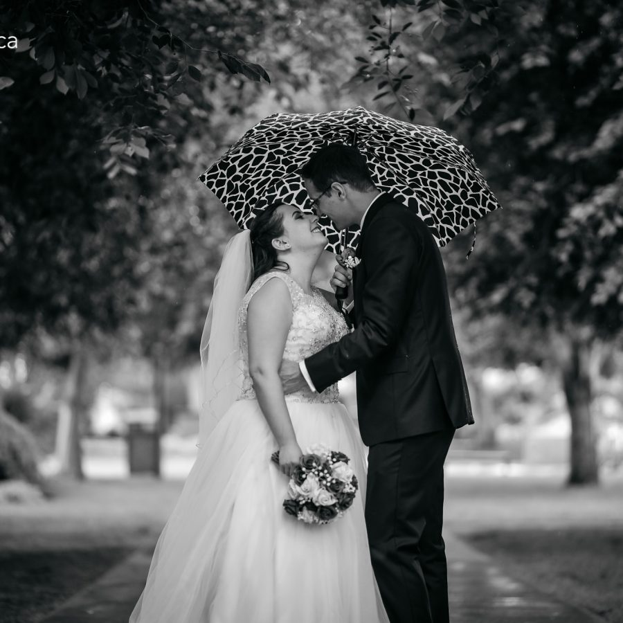 wedding portrait at legislature building with rain
