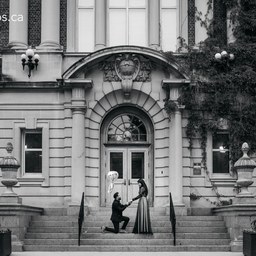 Engagement photos at the old arts building, university of alberta